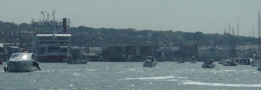 entrance to Cowes Harbour on busy spring day